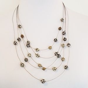Vintage Chico's Necklace Multi Strand Pave Beads